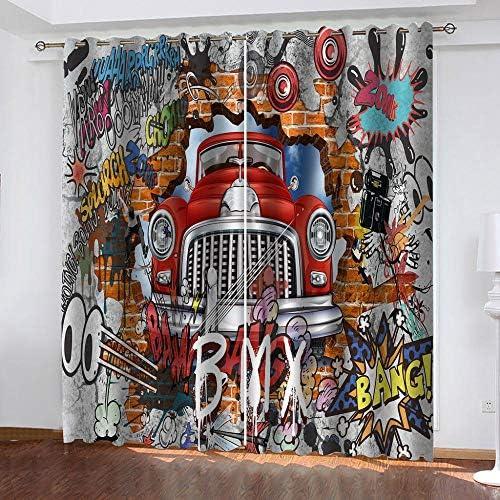 ZFSZSD Tenda Oscurante con OcchielliColore e Graffiti Termica Isolante con Occhielli 100% Poliestere Dimensioni:2xL75xA1166cm