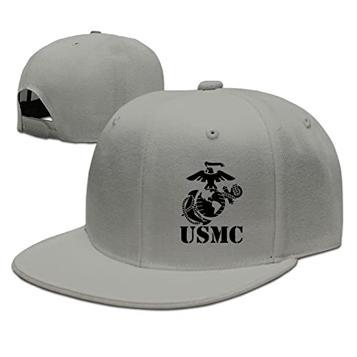 e9bb2dc8c03 Eagle Globe Anchor USMC Marine Corps Baseball Cap Flat Bill Hat Snapback  Hats at Amazon Men s Clothing store