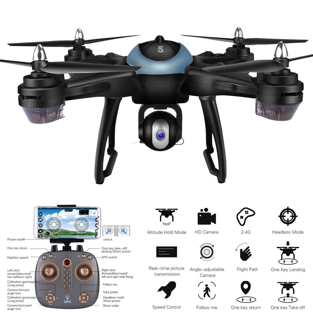 MOZATE LH-X38G Dual GPS FPV Drone Quadcopter with 1080P HD Camera WiFi Headless Mode (Blue) by MOZATE (Image #5)