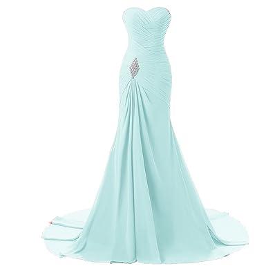 Criss Cross Chiffon Long Mermaid Prom Dress Corset Evening Party Gowns Aqua US 2