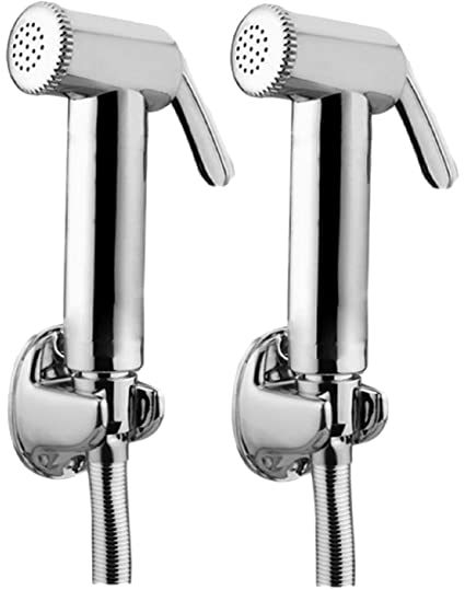 JAQUAR Ald Chr-573 Brass Health Faucet With Tubes And Hooks- Set Of 2 (Chrome Finish)