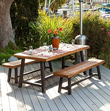 Amazoncom Picnic Table Rustic Metal Acacia Wood Piece Dining - Metal wood picnic table
