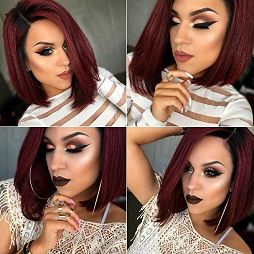 Red Queen Black Bob Wig (Maycaur Short Straight Full Lace Wigs Ombre Red Lace Front Wigs Bob Human Hair Wigs For Black Women 150 Density (12inch full lace wig))