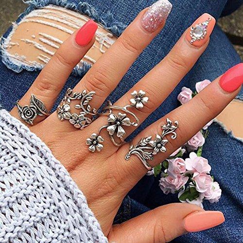 Vintage Sterling Silver Rose - Nusthamon docona Vintage Rose Flower Rings Set for Women Girl Bohemia Antique Silver Color Midi Rings Set Floral Knuckle Ring 6047