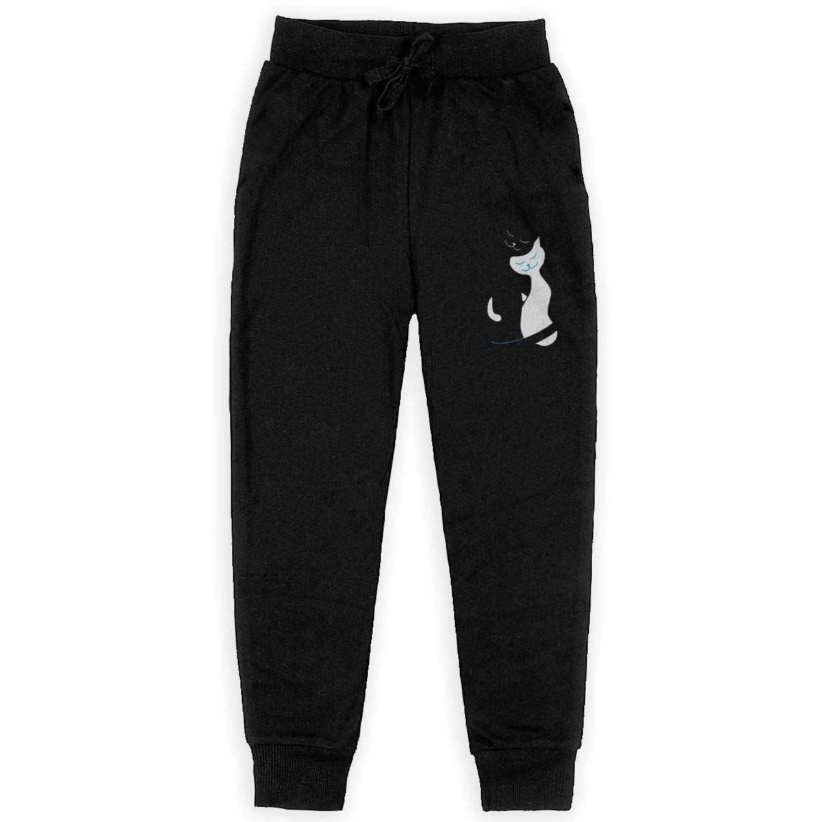 White and Black Cats in Love Boys Sweatpants,Joggers Sport Training Pants Trousers Black