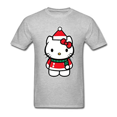 fb1df6cd4 Image Unavailable. Image not available for. Color: DLQUEEN Men's CHRISTMAS HELLO  KITTY Adult T-Shirt Tee Size L Grey