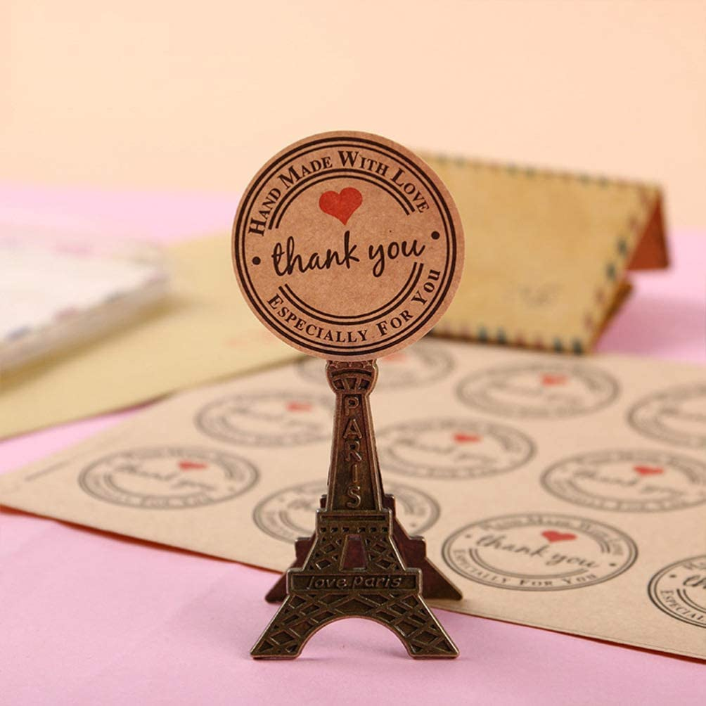 Healifty Round Thank You Stickers Roll Kraft Paper Gift Stickers Labels Adhesive Craft Gift Tag Stickers for Sealing Packaging Cookie Wedding Valentines Day Card Envelope