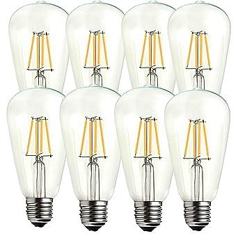 ougeer 8 unidades Vintage E27 rosca Edison Bombilla LED ST64 filamento 4 W bombillas LED ahorro