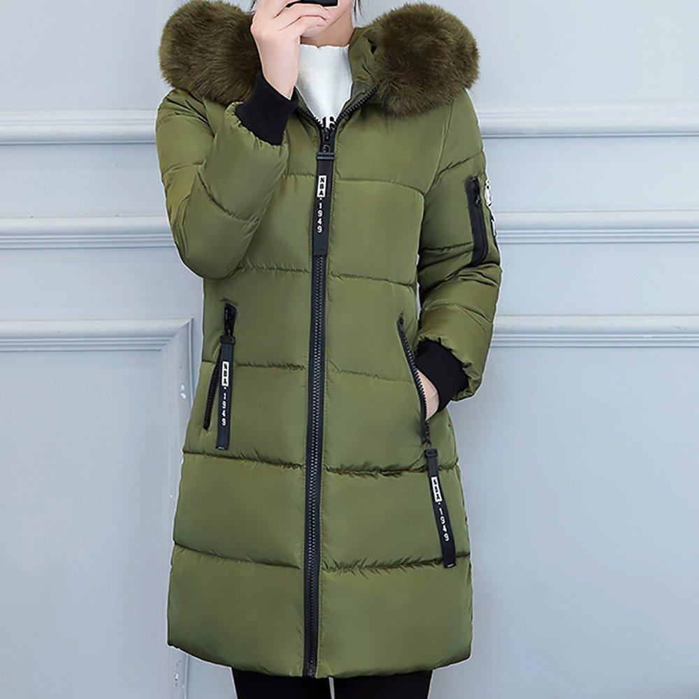 2c5d4555f POTO Women Coats Plus Size, Fashion Winter Long Down Jacket Warm Cotton  Slim Zip Coat with Fur Hood Outwear(L-4XL)
