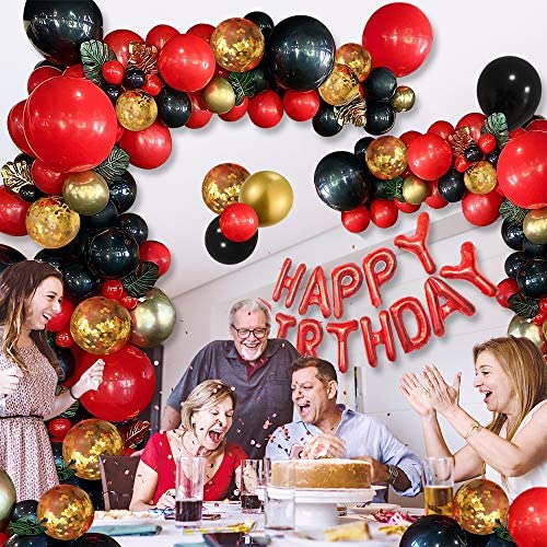 Red and Black Gold Balloons Birthday Valentines Day Party Decorations for Women, Red and Black Gold Balloon Garland Arch Kit, 18th twenty first thirtieth fortieth fiftieth sixtieth Birthday Party Decorations for Women Her