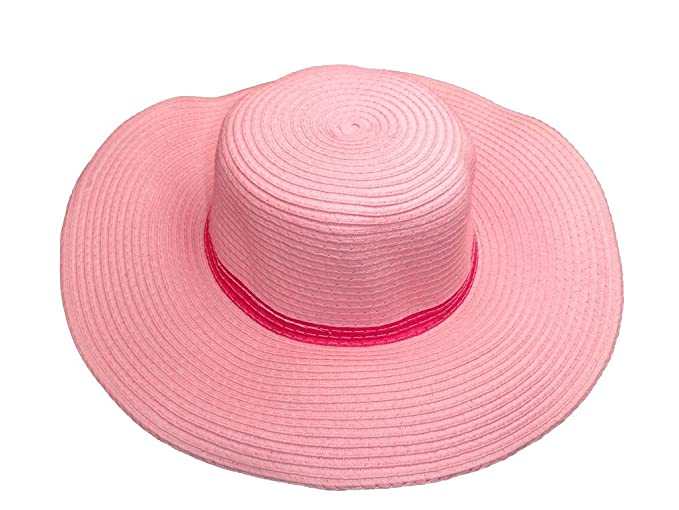 865bccd3489 Amazon.com  Subtle Addition Floppy Straw Sun Hats for Girls Pink ...
