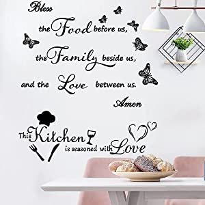 2 Pieces Wall Sticker Murals Decal Meal Prayer Wall Decor Kitchen Prayer Stickers Bless The Food Before Us Wall Decals for Living Room Dining Room Kitchen Home Decorations.