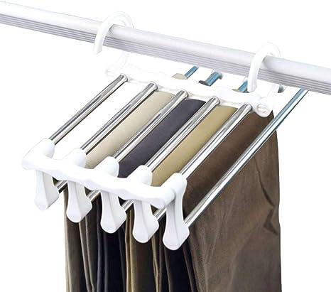 Leyeet Perchas Para Pantalones De Acero Inoxidable Organizador De Jeans Plegable Multifuncion Antideslizante Para Ahorrar Espacio Para Colgar Amazon Com Mx Mascotas