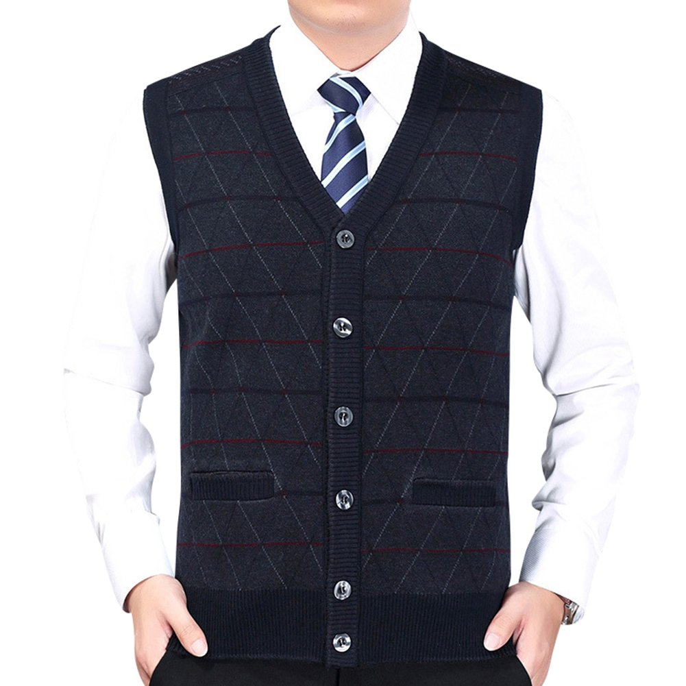 Anyu Mens Knitted Waistcoat Stripes Sleeveless Vest With Buttons V Neck Knitted Tank Tops