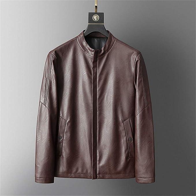 Amazon.com: KLGDA_Mens Outerwear Chaqueta de Cuero para ...