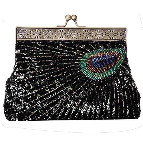 Chain Clutch Party Black Purse Flada Women's Wedding Evening Purple Bags Beaded Sequin Peacock wazxUXq