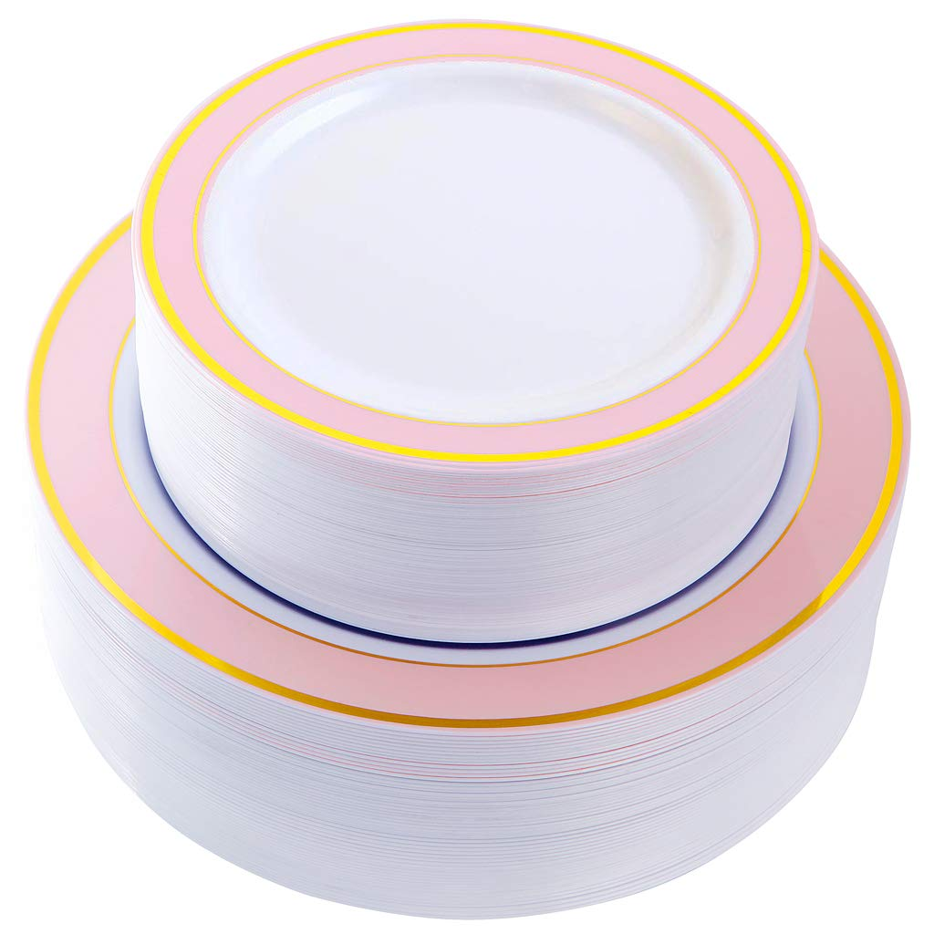 NERVURE 102 PCS Pink with Gold Rim Disposable Plates-Wedding and Party Plastic Plates Include 51PCS 10.25inch Dinner Plates And 51PCS 7.5inch Dessert/Salad Plates - Value Pack 102 Count(Pink) by NERVURE