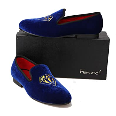 Handmade Blue Men Velvet Slippers Loafers With Gold Diamond