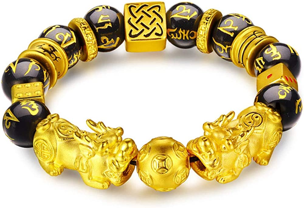 WAINIS Feng Shui PiXiu/Pi Yao Bracelet Black Obsidian Attract Wealth Jewelry for Men Women Chinese Dragon Good Luck 12mm Hand Carved Mantra Bead Bracelet