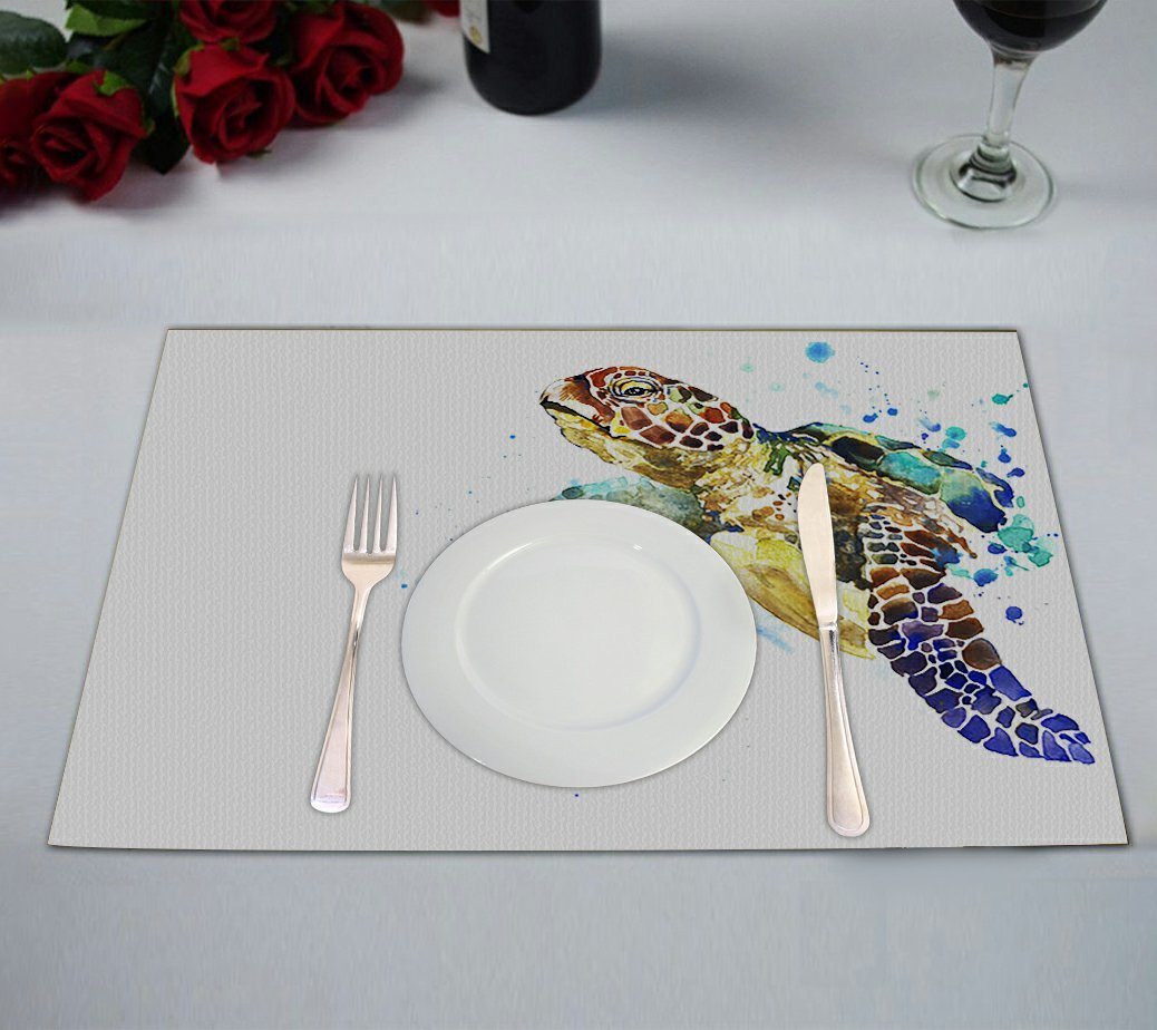 Custom Cute Animal Placemat, Watercolor Sea Turtle Table Placemat Food Mat 12x18 Inch,Pack of 2 Pieces.