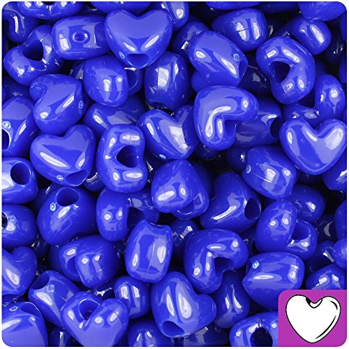 BEADTIN Royal Blue Opaque 12mm Heart Pony Beads (250pc)