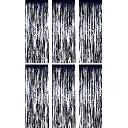 Sumind 6 Pack Foil Curtains Backdrop Fringe Tinsel Metallic Curtains Photo Backdrop for Wedding Birthday Party Stage Decor (Black) -