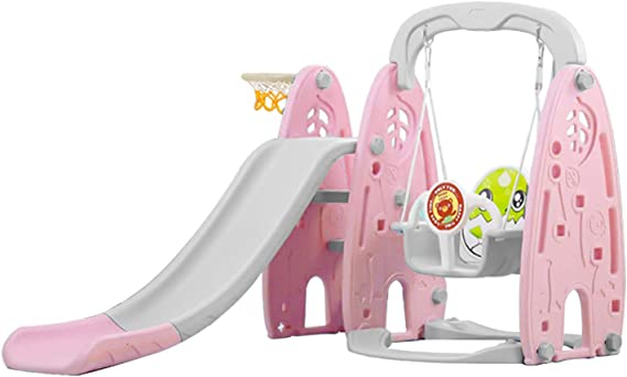 Pink YEEGO Folding Climber Slide Basketball Hoop Multifunction Combined Kids Climber Freestanding Slide Playset Easy Setup Indoor Outdoor Backyard Playground for Babies and Children