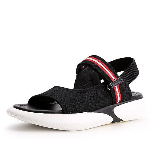 fe83667d6ca50f JRenok Damen Sport Sandalen Freizeitschuhe Plattform Outdoor Heel Walking  Bequem Schwarz 35