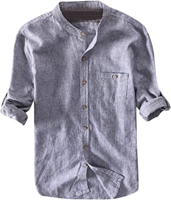 Hombre Camisas De Lino Manga Larga Slim Fit Camisa Casual ...