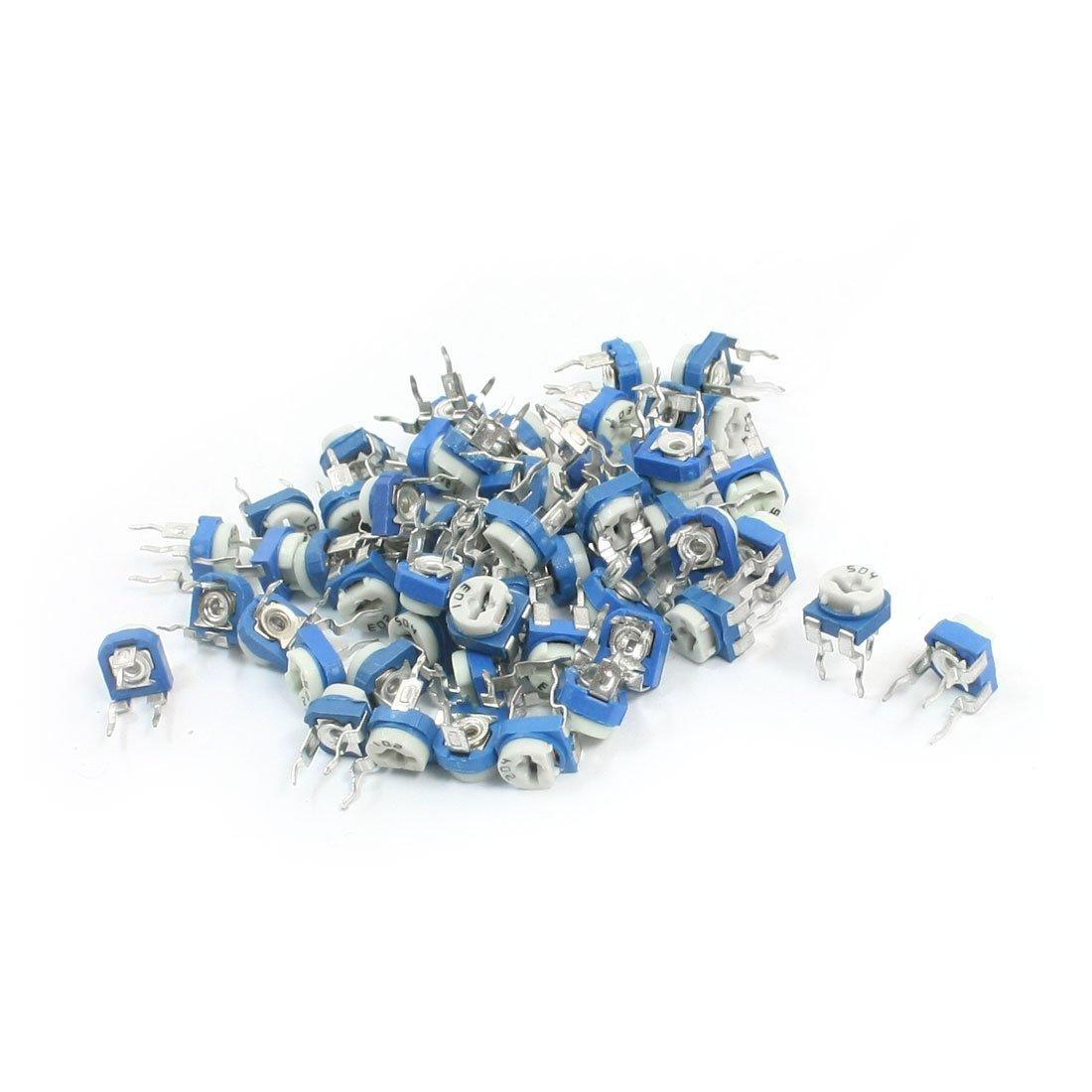 sourcingmap 55Pcs 200-500K Ohm 3 Pin DIP Volume Control Potentiometer Pot Resistor a14060500ux0579