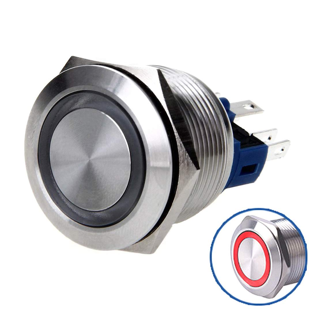 WerFamily Angel Eye White LED 22mm Stainless Steel Round Metal Momentary Type Push Button Switch 1NO 1NC