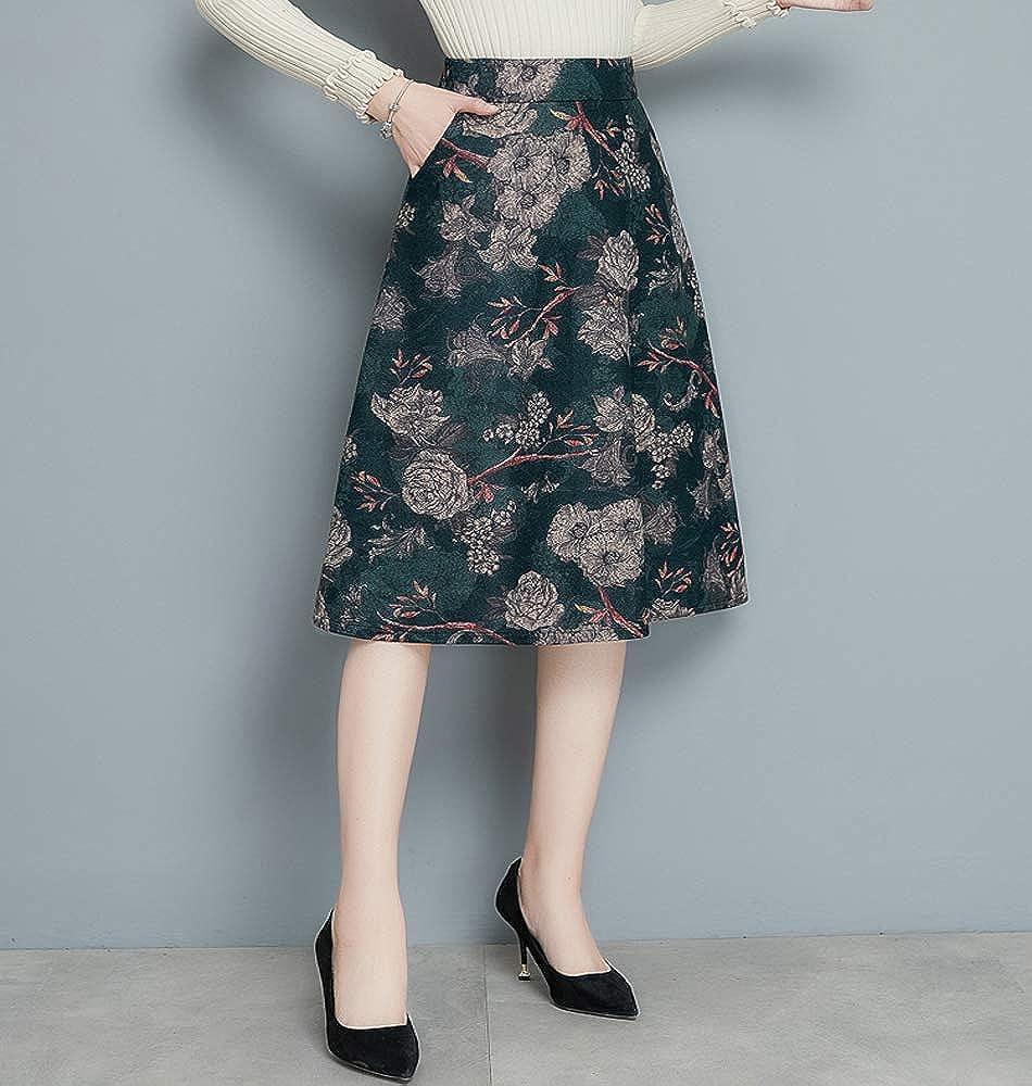 Tribear Damen Vintage Winter Herbst Tartan mit hoher Taille Flared röcke  knielange Kleider  Amazon.de  Bekleidung 1c0dbcec00