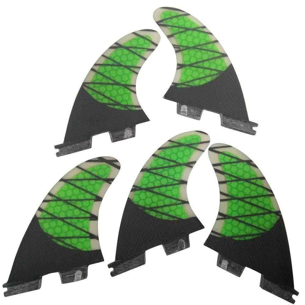 UPSURF FCS II Surfboard 3Fin Carbon Fiberglass+Honeycomb Green Fin K2.1