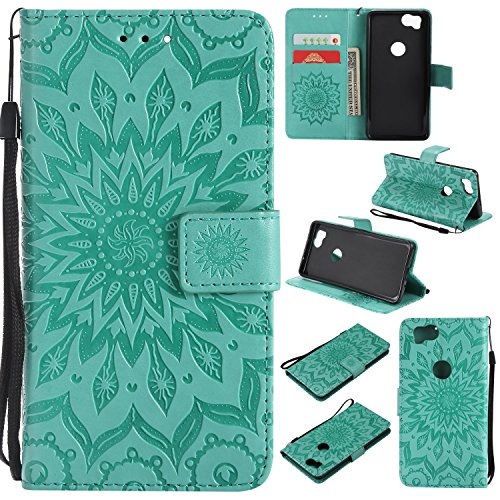 Price comparison product image Ostop Leather Wallet Case for Google Pixel 2 XL,  Embossed Magnetic Flip Cover Holster with Credit Card Slot, Wrist Strap and Stand Feature, Sunflower-Green