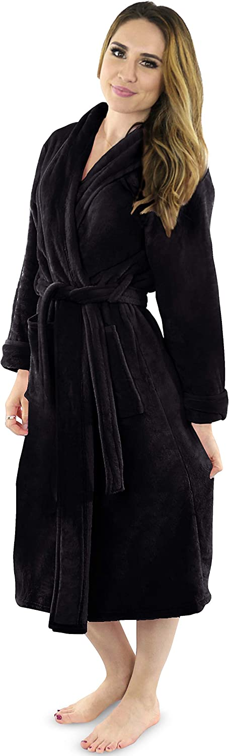 NY Threads Womens Fleece Bathrobe - Shawl Collar Soft Plush Robe Spa Robe