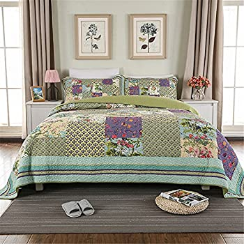 Image of Home and Kitchen ABREEZE Luxury Quilt Set Frosted Pastel Gardenia Bohemian Cotton Patchwork Quilted Coverlet Bedspread Set Vibrant Floral Paisley Colorful Blue Lavender Green Print King Size 3PCS