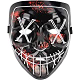 Halloween Mask LED Purge Light up Mask Grimace Scare Mask for Costumes Cosplay Party Halloween Festival Game Decoration