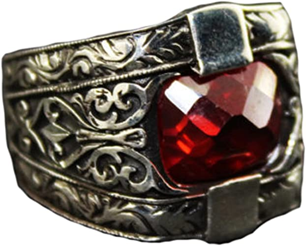 Falcon Jewelry 925 Sterling Silver Men Ring Free Express Shipping Created Garnet Stone Steel Pen Craft