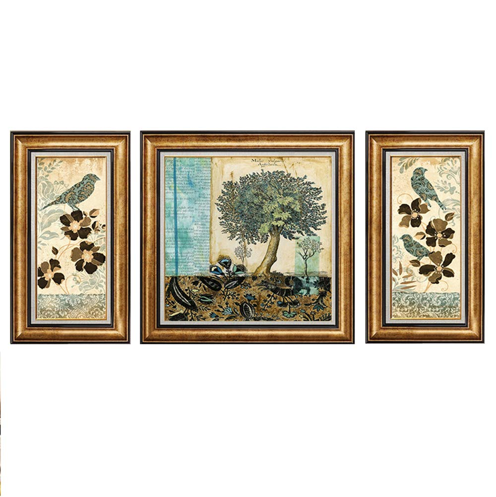 Amazon com mimi king canvas wall art painting green tree birds 3 pieces nature scenery for home decor living room bed room with framegold35inch