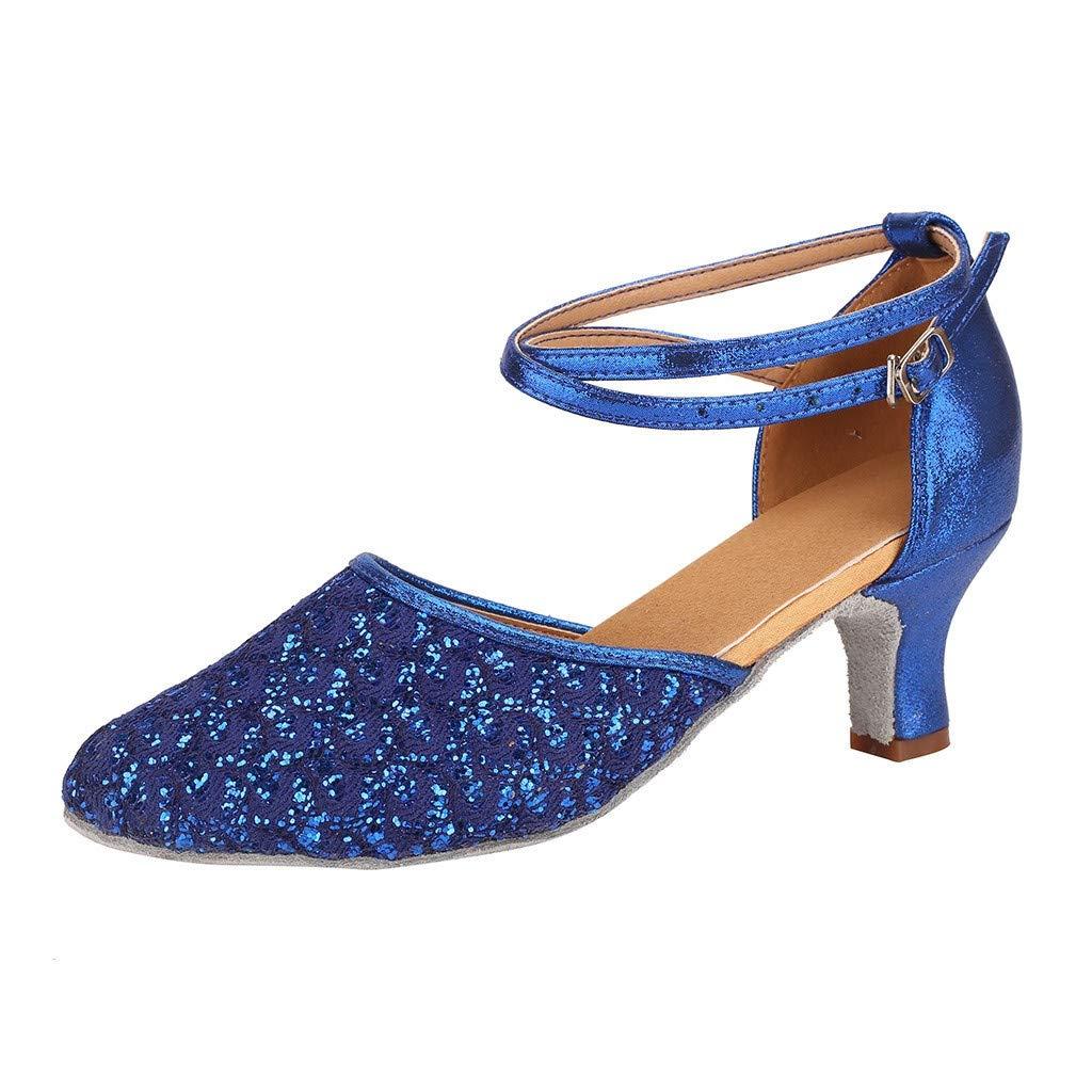 Sandals for Women THENLIAN Womens Waltz Modern Dance Shoe Ballroom Latin Dance Soft Bottom Sandals(35, Blue)