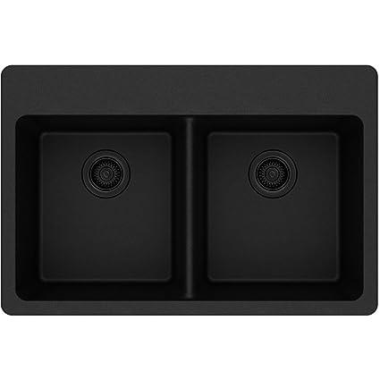 Elkay Quartz Classic ELG3322BK0 Black Equal Double Bowl Top Mount Sink