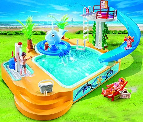 playmobil vacaciones piscina con fuente