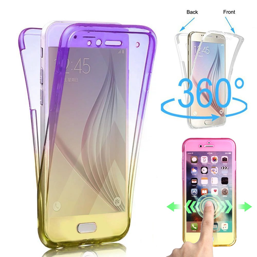 360 Degree Full Body Shockproof Protective Case for Samsung Galaxy S9 Plus,Shinyzone Galaxy S9 Plus Front and Back Clear Two Piece Soft TPU Silicone Cover,Black
