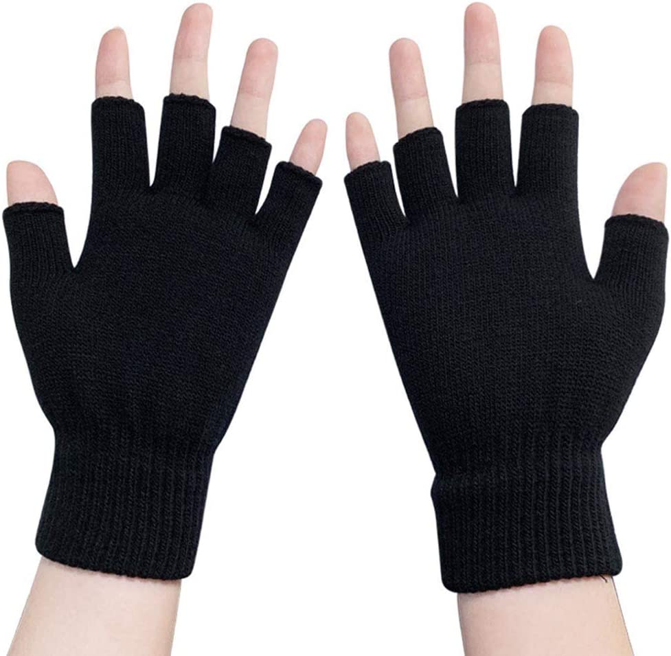 lunanana Anime Demon Slayer Kimetsu no Yaiba Gloves Japanese Anime Cosplay Gloves Half Finger Gloves Printed Gloves Winter Warm Mitten