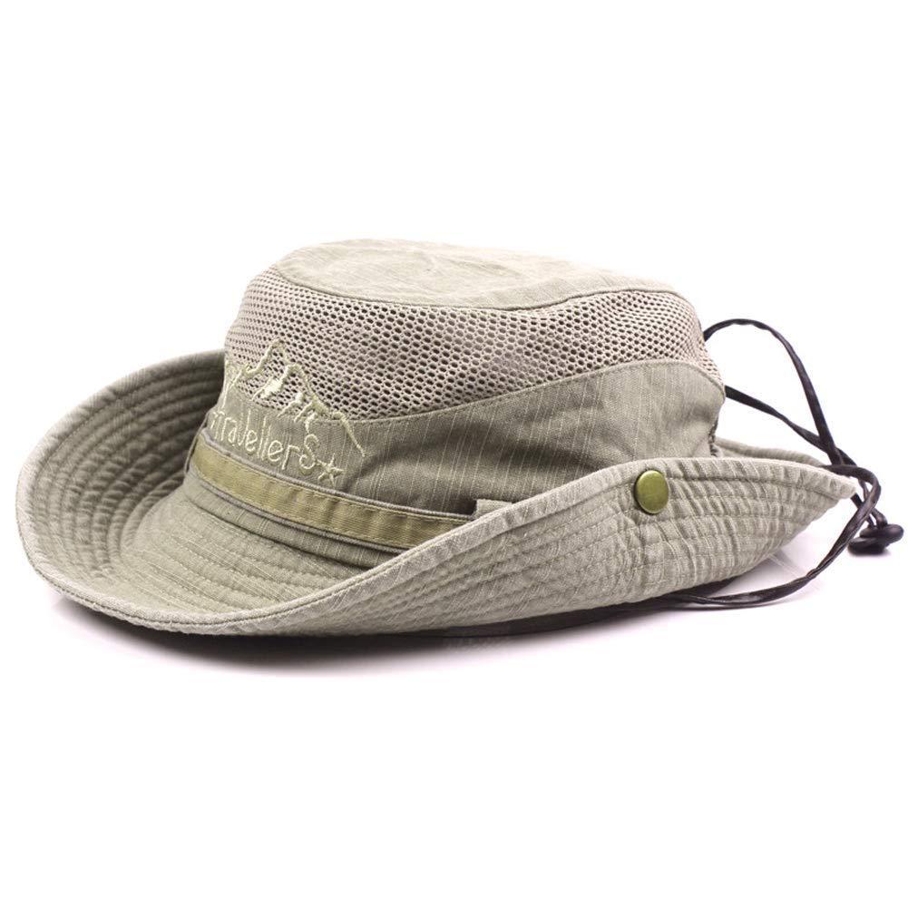 Abilieauty Uomo Cotone Ricamo Cappello Outdoor Protezione Solare Largo con Falda Piegabile Boonie Cappello da Pescatore Nero