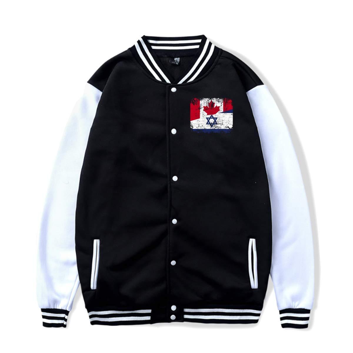 Wishesport Retro Canada Israel Flag Baseball Jacket Uniform Hooded Coat for Women/&Men