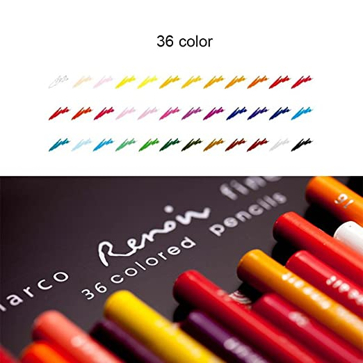 Amazon Huhuhero Marco Renior 36 Count Oil Based Colored Pencils For Artist Sketching Art Writing Artwork Adults Coloring Book Metal Tin Case