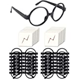 YoHold Wizard Glasses with Round Frame No Lenses and Lightning Bolt Tattoos for Kids Halloween, St Patrick's Day Costume Part