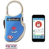 eGeeTouchスマートトラベルロック 旅行用TSAロック搭載南京錠 スマホやスマートウォッチで鍵や暗証番号不要 (青)