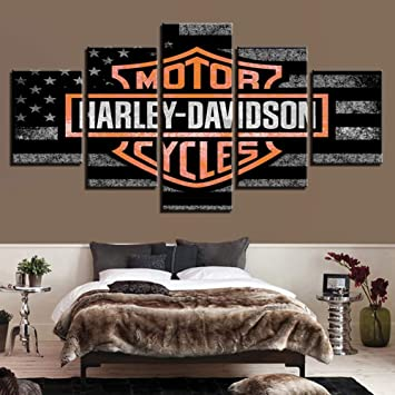 Harley Davidson Bedroom Decor.Canvas Pictures Wall Art Hd Prints Poster 5 Pieces Harley Davidson Motorcycle Bike Paintings Modular Living Room Decor
